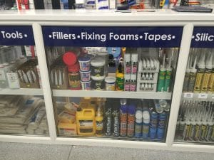 Upvc Trade Counter Super Glue`s Activators Expanding Foams & Wonder Wipes Ect