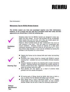 Rehau Maintenance Tips